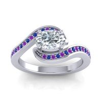 Bypass Oval Pave Phala Diamond Ring with Blue Sapphire and Amethyst in 14k White Gold