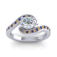 Bypass Oval Pave Phala Diamond Ring with Blue Sapphire and Citrine in 18k White Gold