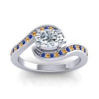 Bypass Oval Pave Phala Diamond Ring with Citrine and Blue Sapphire in 14k White Gold