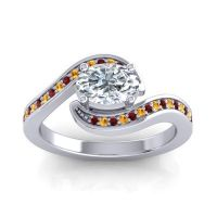 Bypass Oval Pave Phala Diamond Ring with Citrine and Garnet in 14k White Gold