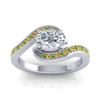Bypass Oval Pave Phala Diamond Ring with Citrine and Peridot in Palladium