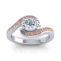 Bypass Oval Pave Phala Diamond Ring with Citrine and Pink Tourmaline in 18k White Gold