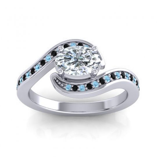 Bypass Oval Pave Phala Diamond Ring with Black Onyx and Aquamarine in Platinum