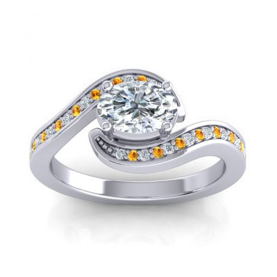 Bypass Oval Pave Phala Diamond Ring with Citrine in 14k White Gold
