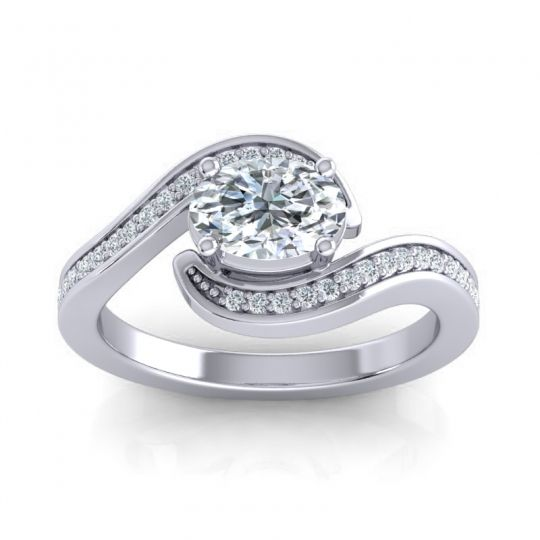 Bypass Oval Pave Phala Diamond Ring in 14k White Gold