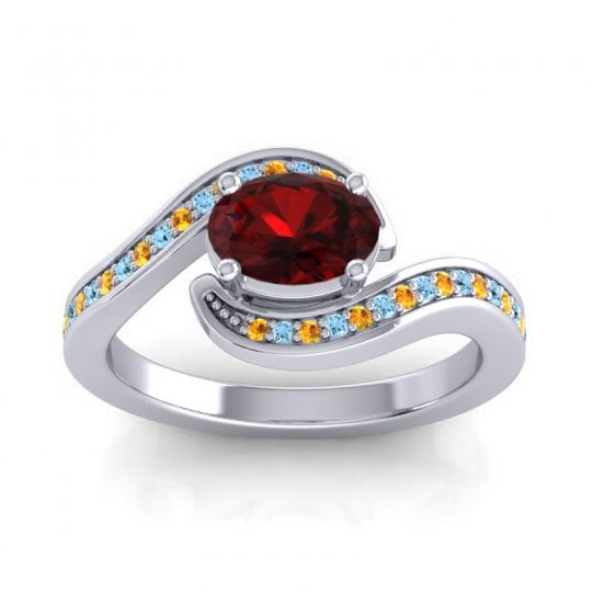 Bypass Oval Pave Phala Garnet Ring with Aquamarine and Citrine in 18k White Gold