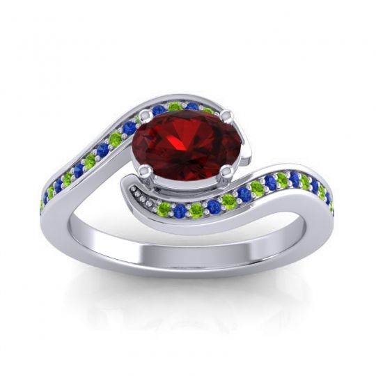 Bypass Oval Pave Phala Garnet Ring with Blue Sapphire and Peridot in Palladium