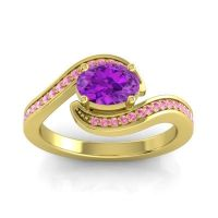 Bypass Oval Pave Phala Amethyst Ring with Pink Tourmaline in 14k Yellow Gold
