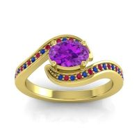 Bypass Oval Pave Phala Amethyst Ring with Ruby and Blue Sapphire in 18k Yellow Gold