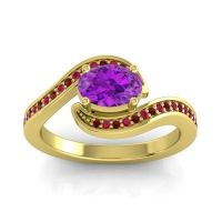 Bypass Oval Pave Phala Amethyst Ring with Ruby and Garnet in 18k Yellow Gold