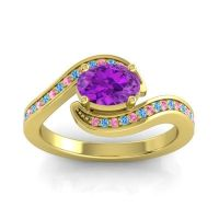 Bypass Oval Pave Phala Amethyst Ring with Swiss Blue Topaz and Pink Tourmaline in 14k Yellow Gold