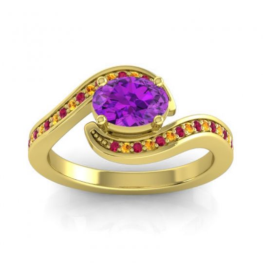 Bypass Oval Pave Phala Amethyst Ring with Citrine and Ruby in 18k Yellow Gold