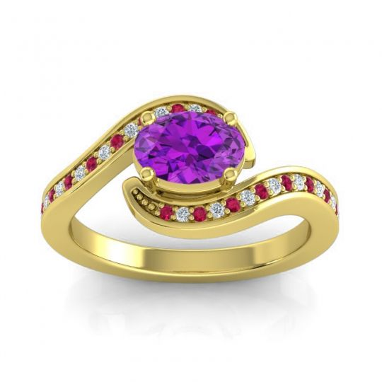 Bypass Oval Pave Phala Amethyst Ring with Diamond and Ruby in 14k Yellow Gold