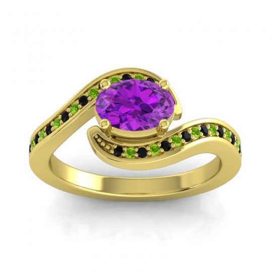 Bypass Oval Pave Phala Amethyst Ring with Peridot and Black Onyx in 14k Yellow Gold