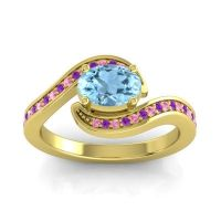 Bypass Oval Pave Phala Aquamarine Ring with Amethyst and Pink Tourmaline in 14k Yellow Gold