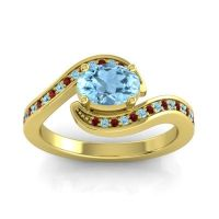 Bypass Oval Pave Phala Aquamarine Ring with Garnet in 14k Yellow Gold