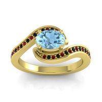 Bypass Oval Pave Phala Aquamarine Ring with Black Onyx and Garnet in 18k Yellow Gold