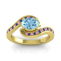 Bypass Oval Pave Phala Aquamarine Ring with Blue Sapphire and Pink Tourmaline in 14k Yellow Gold