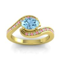 Bypass Oval Pave Phala Aquamarine Ring with Diamond and Pink Tourmaline in 18k Yellow Gold