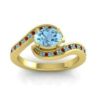 Bypass Oval Pave Phala Aquamarine Ring with Garnet and Swiss Blue Topaz in 18k Yellow Gold