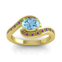 Bypass Oval Pave Phala Aquamarine Ring with Peridot and Amethyst in 18k Yellow Gold