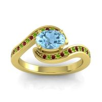 Bypass Oval Pave Phala Aquamarine Ring with Peridot and Garnet in 18k Yellow Gold