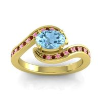 Bypass Oval Pave Phala Aquamarine Ring with Pink Tourmaline and Garnet in 18k Yellow Gold