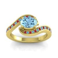 Bypass Oval Pave Phala Aquamarine Ring with Swiss Blue Topaz and Ruby in 18k Yellow Gold