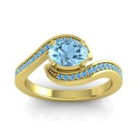 Bypass Oval Pave Phala Aquamarine Ring with Swiss Blue Topaz in 14k Yellow Gold