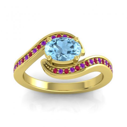 Bypass Oval Pave Phala Aquamarine Ring with Amethyst and Ruby in 14k Yellow Gold
