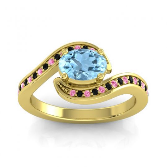 Bypass Oval Pave Phala Aquamarine Ring with Black Onyx and Pink Tourmaline in 18k Yellow Gold