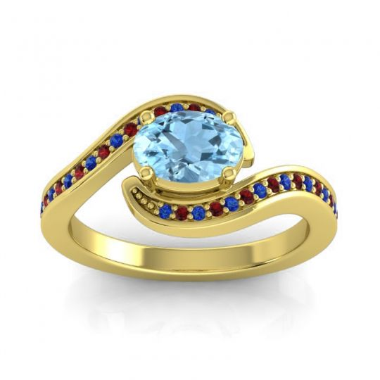 Bypass Oval Pave Phala Aquamarine Ring with Garnet and Blue Sapphire in 18k Yellow Gold