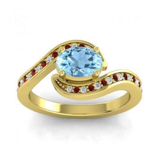 Bypass Oval Pave Phala Aquamarine Ring with Garnet and Diamond in 18k Yellow Gold