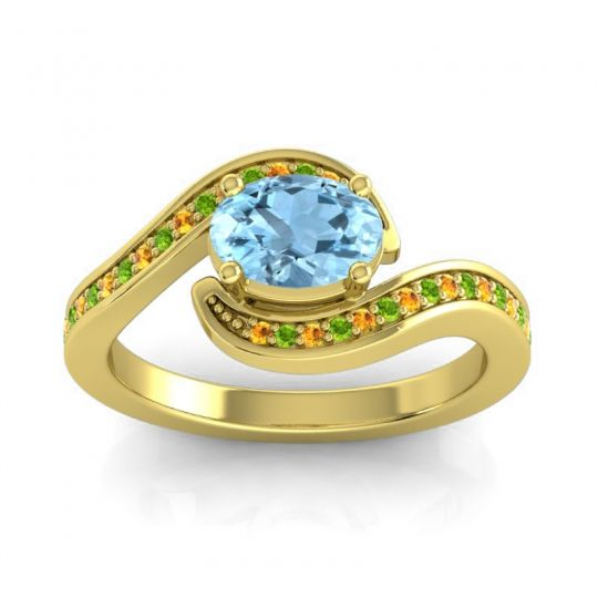 Bypass Oval Pave Phala Aquamarine Ring with Peridot and Citrine in 14k Yellow Gold
