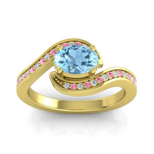 Bypass Oval Pave Phala Aquamarine Ring with Pink Tourmaline and Diamond in 18k Yellow Gold
