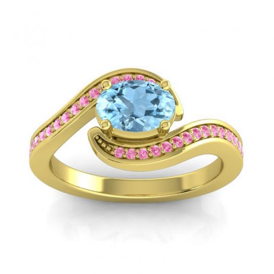 Bypass Oval Pave Phala Aquamarine Ring with Pink Tourmaline in 18k Yellow Gold