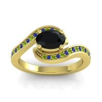 Bypass Oval Pave Phala Black Onyx Ring with Blue Sapphire and Peridot in 18k Yellow Gold