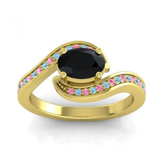 Bypass Oval Pave Phala Black Onyx Ring with Aquamarine and Pink Tourmaline in 14k Yellow Gold
