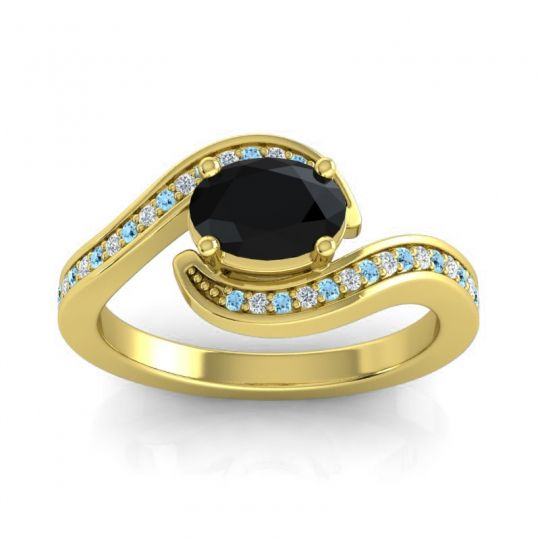 Bypass Oval Pave Phala Black Onyx Ring with Diamond and Aquamarine in 14k Yellow Gold
