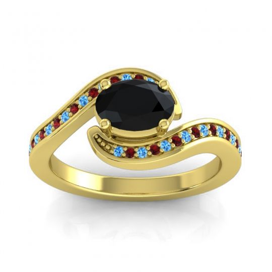 Bypass Oval Pave Phala Black Onyx Ring with Garnet and Swiss Blue Topaz in 18k Yellow Gold