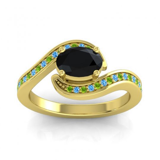 Bypass Oval Pave Phala Black Onyx Ring with Swiss Blue Topaz and Peridot in 18k Yellow Gold