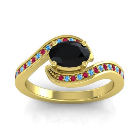 Bypass Oval Pave Phala Black Onyx Ring with Swiss Blue Topaz and Ruby in 18k Yellow Gold