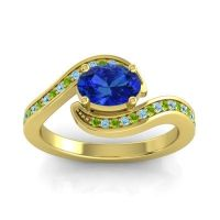 Bypass Oval Pave Phala Blue Sapphire Ring with Aquamarine and Peridot in 18k Yellow Gold