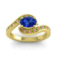 Bypass Oval Pave Phala Blue Sapphire Ring with Peridot and Pink Tourmaline in 14k Yellow Gold