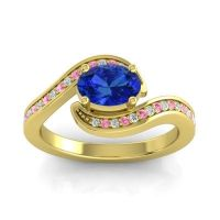 Bypass Oval Pave Phala Blue Sapphire Ring with Pink Tourmaline and Diamond in 14k Yellow Gold