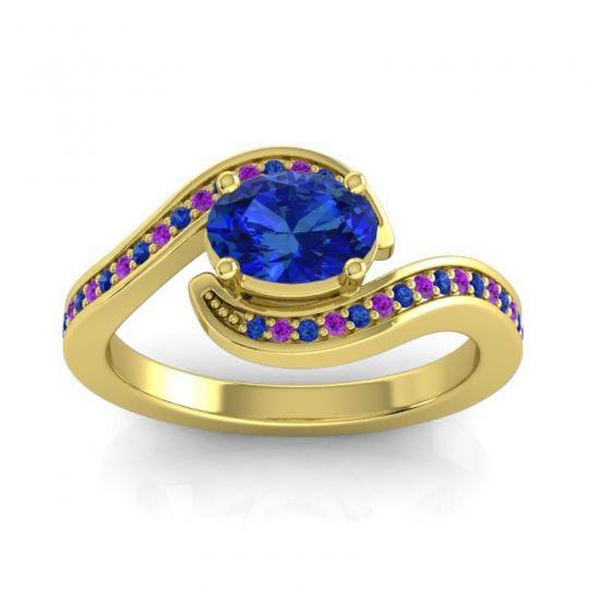 Bypass Oval Pave Phala Blue Sapphire Ring with Amethyst in 18k Yellow Gold
