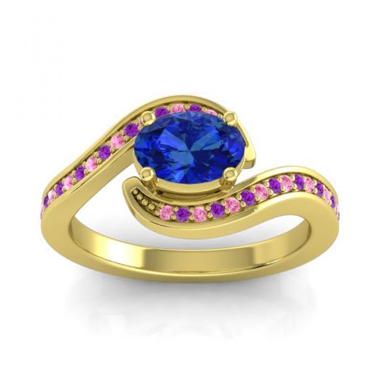 Bypass Oval Pave Phala Blue Sapphire Ring with Amethyst and Pink Tourmaline in 14k Yellow Gold