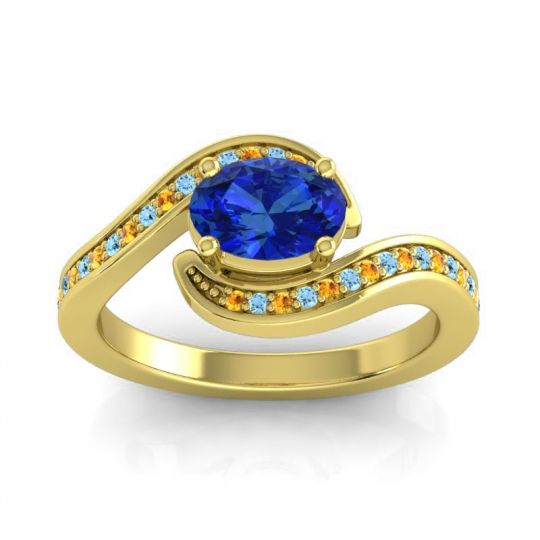 Bypass Oval Pave Phala Blue Sapphire Ring with Aquamarine and Citrine in 14k Yellow Gold