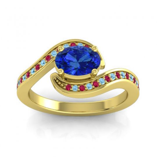 Bypass Oval Pave Phala Blue Sapphire Ring with Aquamarine and Ruby in 18k Yellow Gold