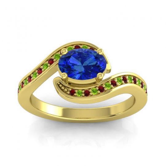 Bypass Oval Pave Phala Blue Sapphire Ring with Peridot and Garnet in 14k Yellow Gold